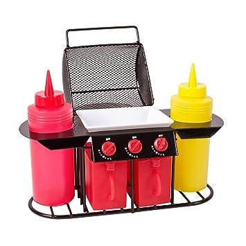 GLOW - Set de condimentos para barbacoa – Divertido y colorido organizador de mesa superior de