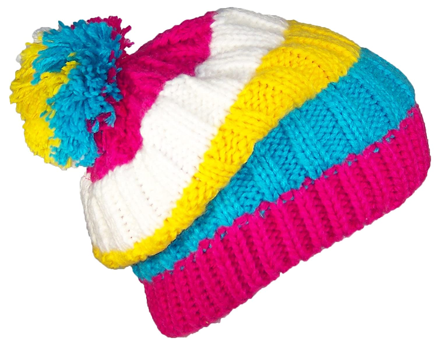 Best Winter Hats Womens Striped Rib Knit Pom Pom Cuffless Beanie (One Size)