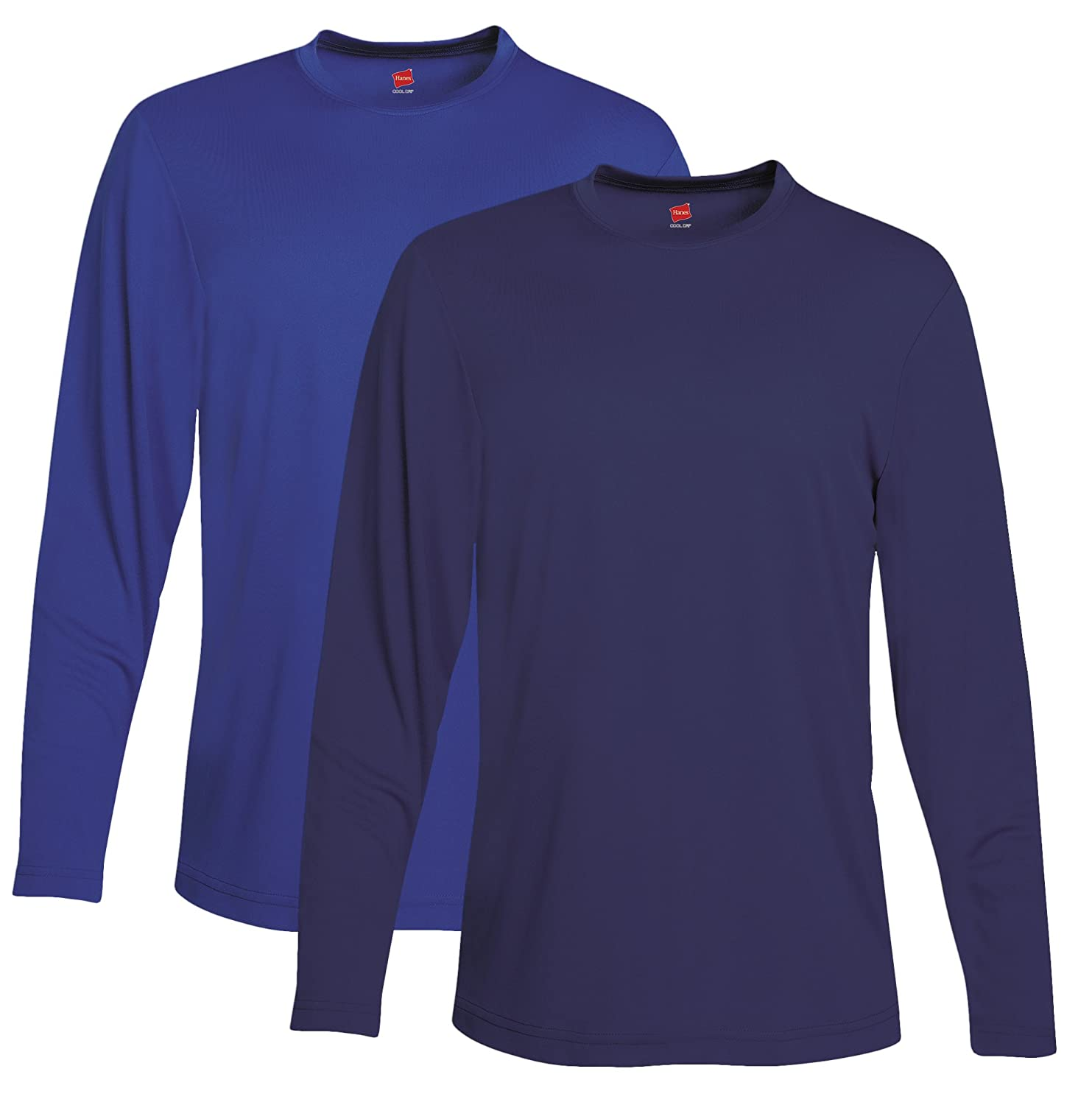 3022aa5ca Hanes Men s Two Pack of Long-Sleeve Cool Dri T-Shirts at Amazon Men s  Clothing store