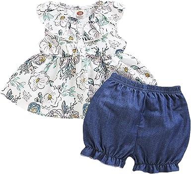 Borlai Camisa Floral con Volantes de 0-24 M para Bebés Y ...
