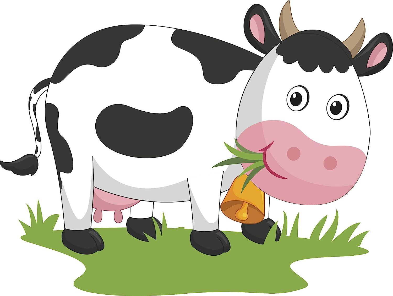 Amazon Com Happy Smiling Milking Cow Eating Grass Cartoon Vinyl Decal Sticker 4 Wide Automotive