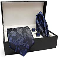 COCO CHANEL Men's Silk Summer Stain Resistant Necktie, Pocket Square, Cufflinks Set (Blue, Free Size)