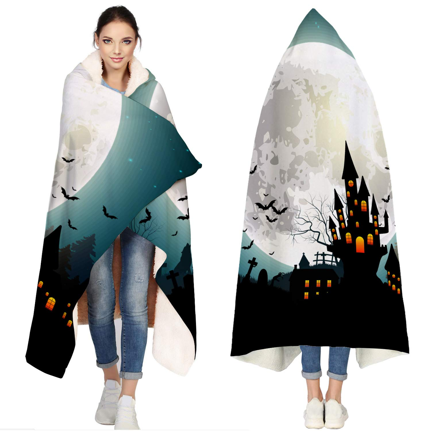 SUN-Shine Happy Halloween Sherpa Hooded Blanket, Wrap Soft Flannel Fleece Wearable Throw Hoodie Blankets for Kids Adults Girls Boys, Full Moon Haunted House and Bats by SUN-Shine