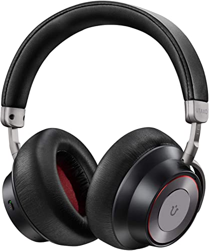 Noise Cancelling Headphones, Utaxo Bluetooth Headphones with Mic Wireless Headphones Over Ear Hi-Fi Sound Deep Bass, Quick Charge 30H Playtime for Travel Work TV PC Cellphone
