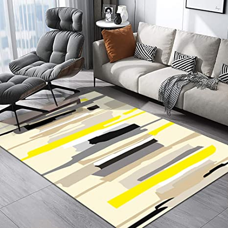 YAMTION Living Room Rugs, 4\'x 6 Modern Multi-Function Area Rugs Collection,  Non Slip Abstract Striped Yellow Soft Shaggy Carpet, Indoor Bedroom Rugs ...