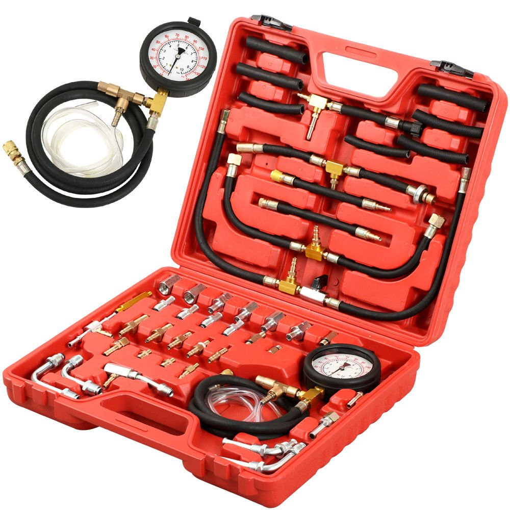 PMD Products Manometer Fuel Injection Pressure Tester Gauge Kit System w/Schrader Valve Fittings 0-140 psi