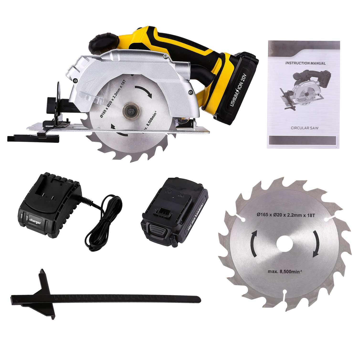 Benlet 20V Li-ion Operated Electric Cordless Circular Saw 6 1/2inch, MAX Dry Cut Saw Blades Machine w/Measured Ruler for Cutting Wood (Yellow)