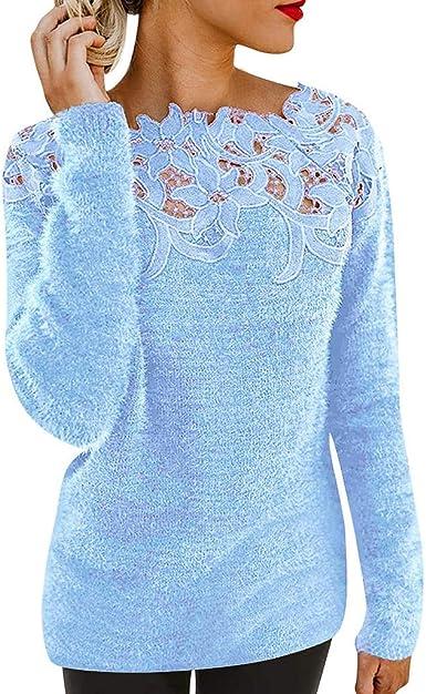 Camisa Mujer Moda Casual Encaje Piel Mullida Sudadera Damas Suéter Manga Larga Slim fit Basica Camiseta Otoño e Invierno Playa y Fiesta Tops Blusa: Amazon.es: Ropa y accesorios