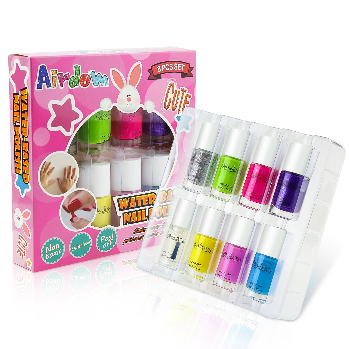 Airdom Non-Toxic Water-Based Kids Nail Polish - Natural Odorless Safe Peel Off Nail Polish Set Quick Dry Nail Polish Gifts Toys Kit for Girls Kids Toddlers Including 7 Colors and 1 Top Coat by Airdom