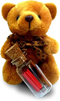 exciting Lives Teddy with Thank You Message in A Bottle