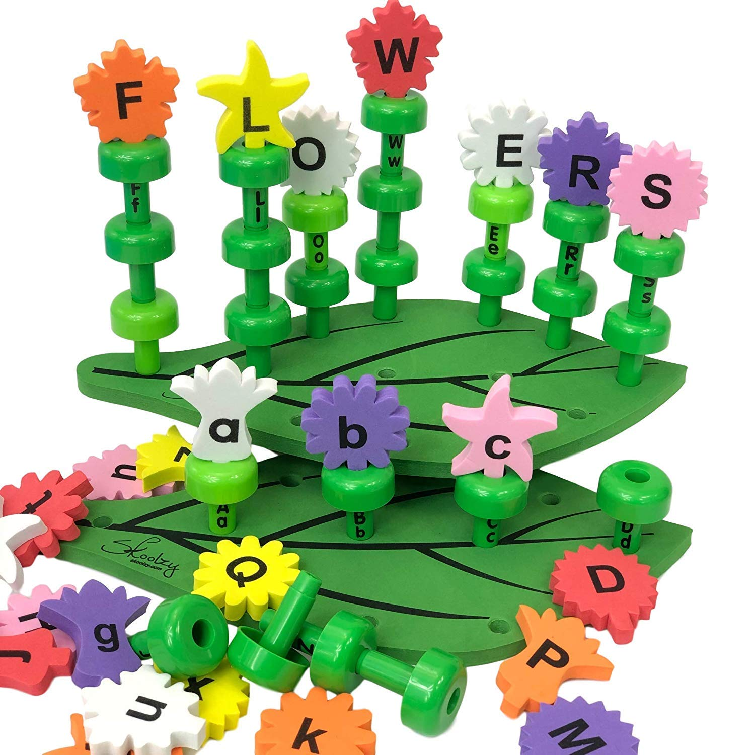 Skoolzy Flower Alphabet Puzzle - ABC Matching Educational Toy - Toddler, Preschool Alphabet Learning Toys - Montessori Fine Motor Skills for 2 3 4 5 6 Year Old Girls, Boys - Pretend Play Gifts - 58pc