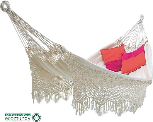 ECOMUNDY Elegance Bio XL 380 Blanco - Hamaca clásico con Flecos ...