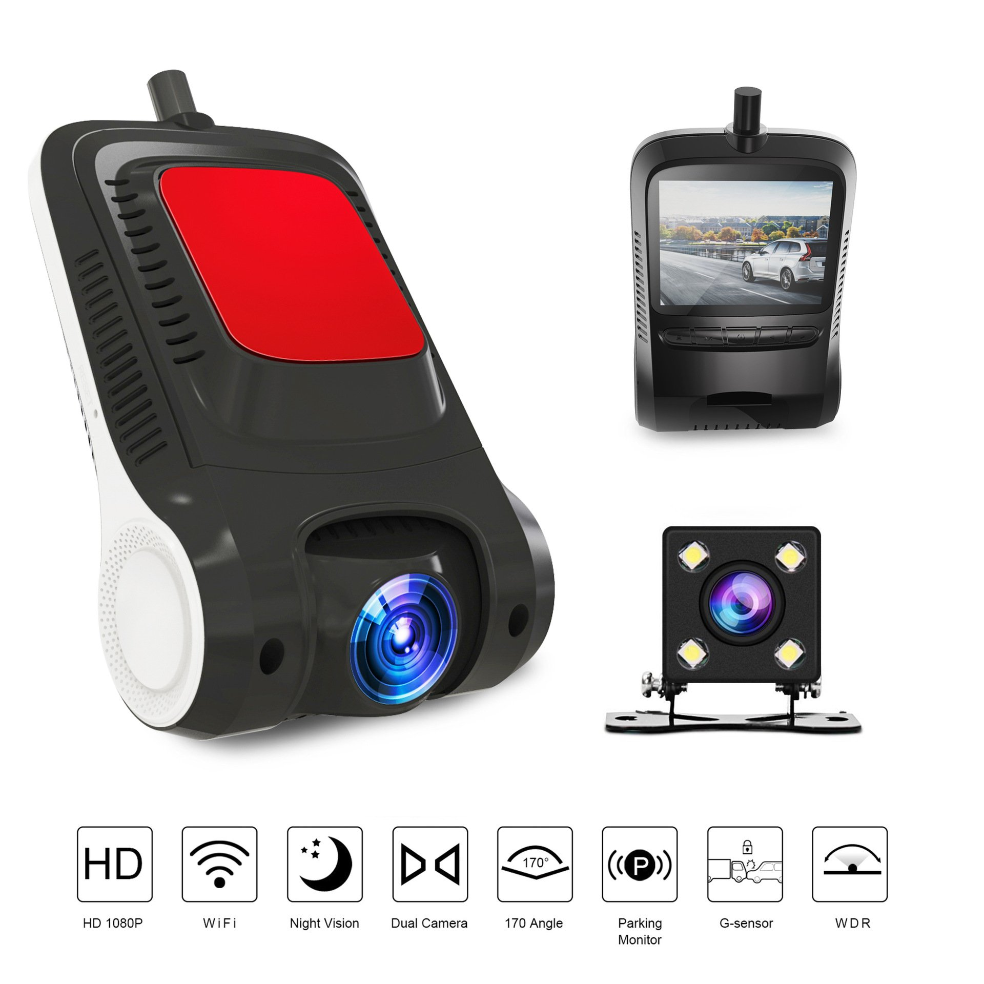ZYWX Dashcam Full HD 1080P Hidden Camera, 170° Wide-Angle Lens, Dynamic Detection, Parking Monitoring, Loop Recording, Built-in WiFi Module, Night Vision and G Sensor