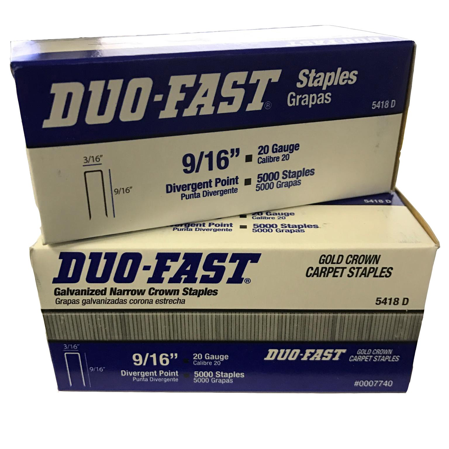 Duo-Fast 5418D 9/16-Inch by 20 Gauge 3/16 Crown Gold Staples (5,000 per Box) - Pack of 2 Boxes by Duo-Fast