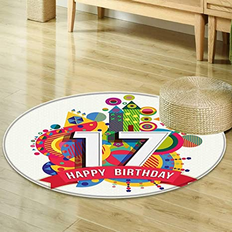 Dining Room Home Bedroom Carpet 17th Birthday Decorations Sweet Seventeen Party With Geometric Castle Boat And