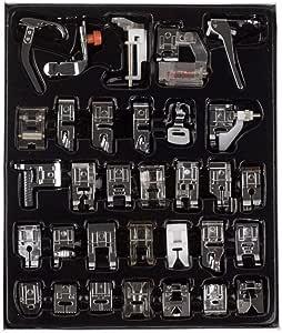 طقم أدوات الحياكة المنزلية المكون من 32 قطعة مع صندوق لآلات حياكة من برازر سينجر جانوم وايت لوو شانك