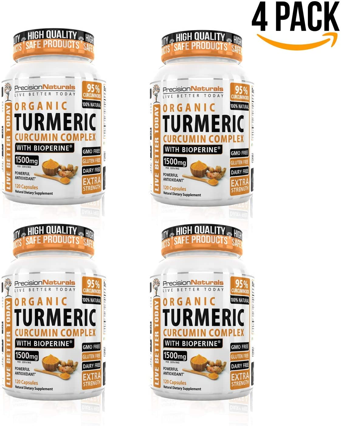 4 Pack Turmeric Capsules Bioperine Black Pepper Extract Maximum Absorption 1000mg serving Advanced Pain Relief and Joint Support 95 Standardized Curcuminoids Made with Organic Turmeric
