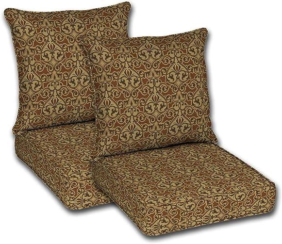 Comfort Classics Inc. Set of 2 Outdoor Deep Seat Double Welt Cushions. Seat: 24″ Lx24 Wx5.75 H Pillow Back