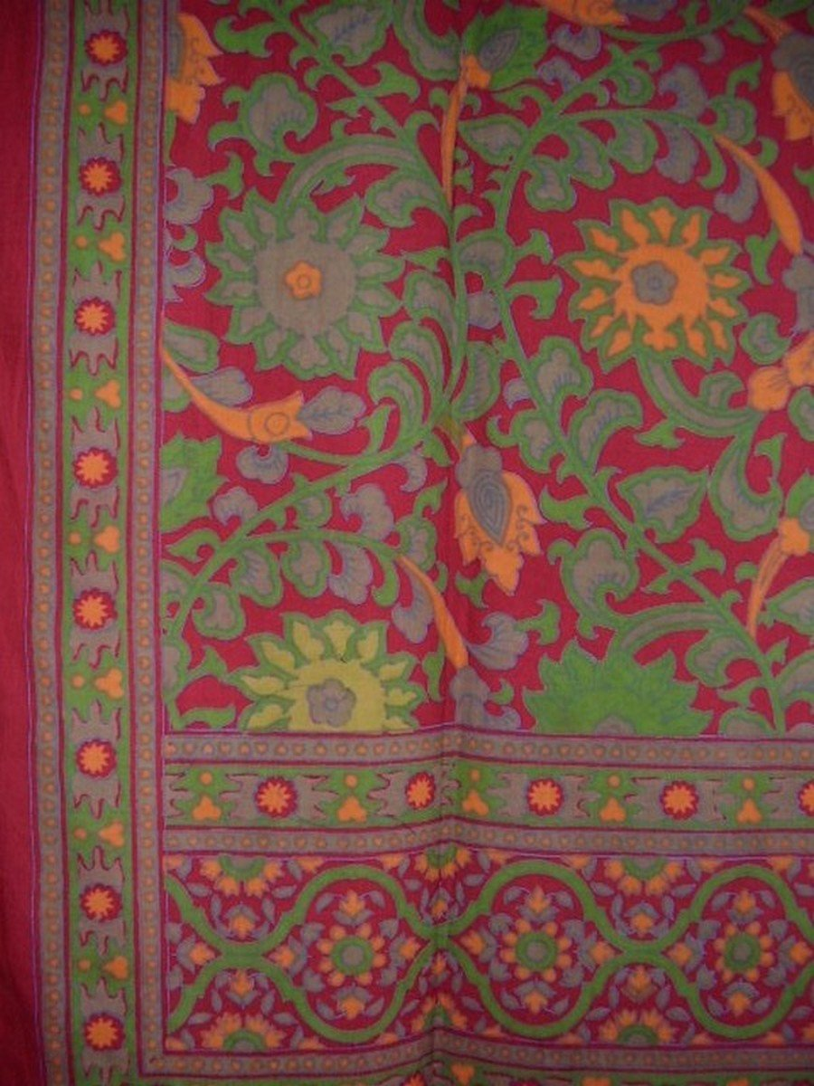 Sunflower Print Tab Top Curtain Drape Panel Cotton 44'' x 88'' Cranberry by India Arts (Image #2)