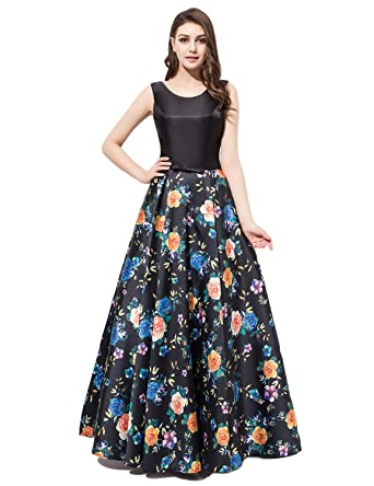 JoJoBridal Womens Long Floral Print Satin Evening Prom Dresses Formal Gowns M174 - -