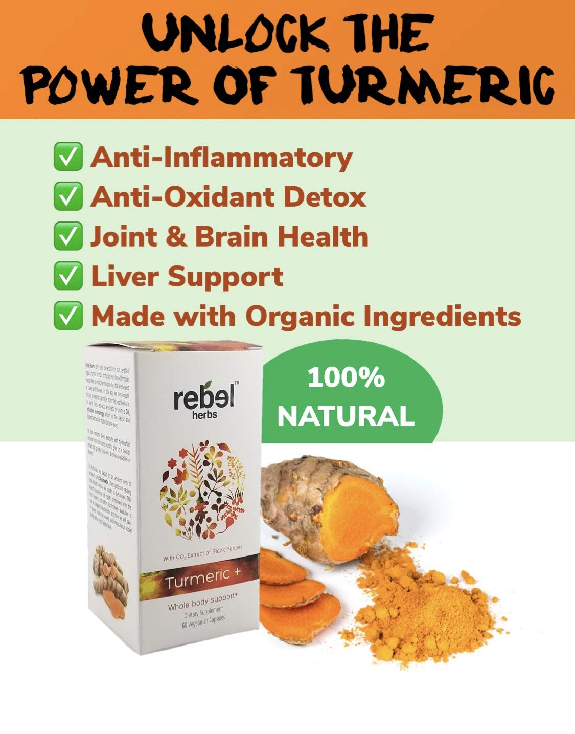 Rebel Herbs RH1290 Turmeric For Body Support, + 60 capsules by Rebel Herbs (Image #2)