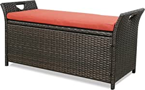 Patio Outdoor Rattan Storage Bench (Terracotta)