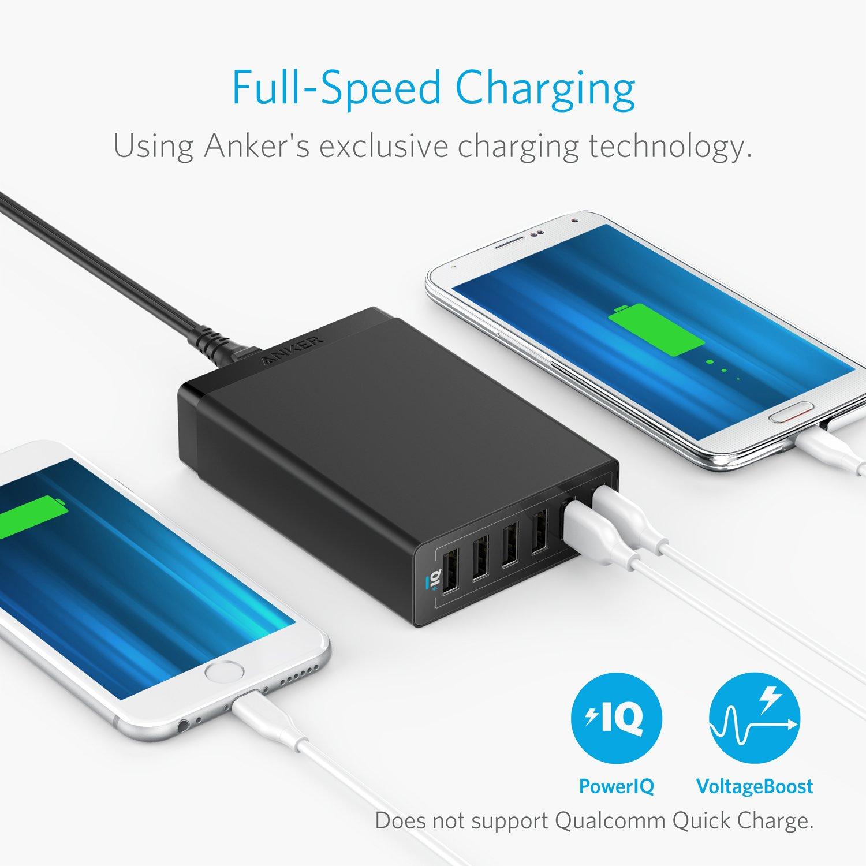 Anker 60w 6 Port Usb Wall Charger Powerport For Quick Charge 30 315w Dual 2 Us Plug Hitam Iphone Xs Max Xr X 8 7 Plus Ipad Pro Air Mini Ipod Galaxy S9 S8 S7 S6 Edge