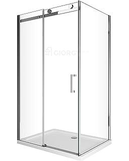 Montaggio Box Doccia In Cristallo.Box Cabina Doccia 2 Lati Cristallo Fisso 70 75 80 90 Cm