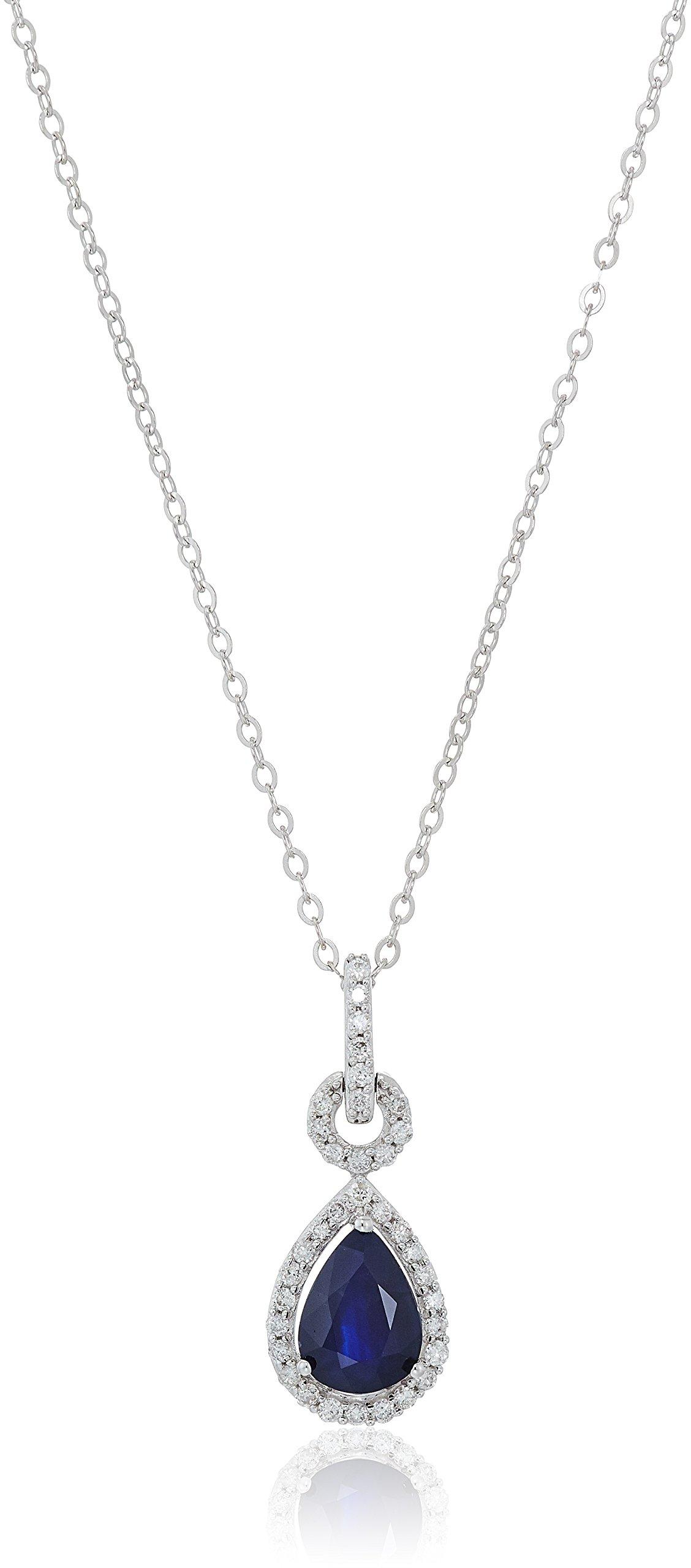 14k White Gold Pear Genuine Sapphire and Diamond Pendant Necklace, 18''