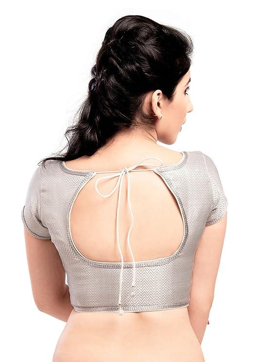 4d0002951529c Amazon.com  Elegant Silver Shimmer Ready-made Indian Saree Blouse - 86bw SL   Clothing