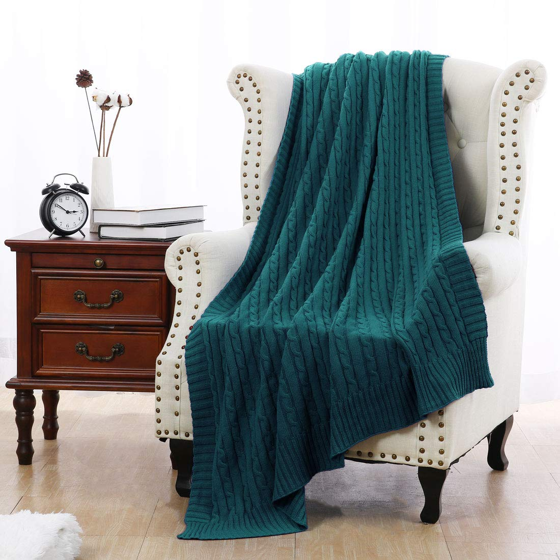 70 x 78 Teal Blue Full uxcell Cotton Cable Knit Throw Blanket Super Soft Throw Couch Covers Knitted Blankets for Sofa Bed Teal Blue Full 70 x 78