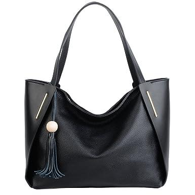 9c799706d710 Amazon.com: YALUXE Women's Large Capacity Leather Work Tote Tassel ...