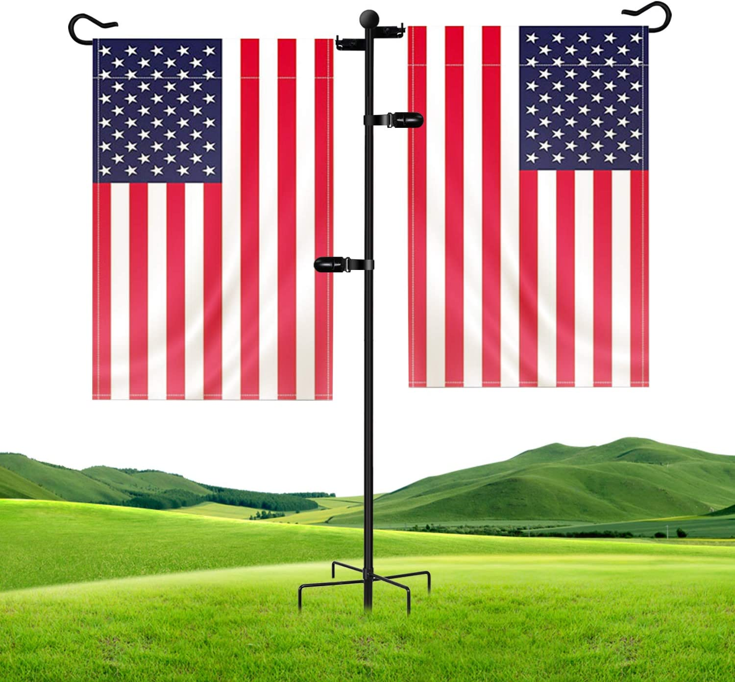 "JOYSEUS Garden Flag Stand, Upgrade Dual Flag Holder Stand, 1/2 Inch Thick Heavy Duty Rust Resistant Flag Stand, 36"" H x 27"" W for Yards Christmas Decorations (Flags not Included)"
