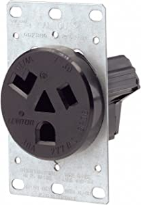 Leviton 9730-A 30 Amp, 277 Volt, Flush Mounting Receptacle, Straight Blade, Industrial Grade, Grounding, Black