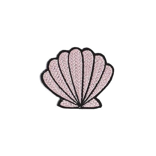 pink shell patch iron on badge gift tumblr cute kawaii mermaid at