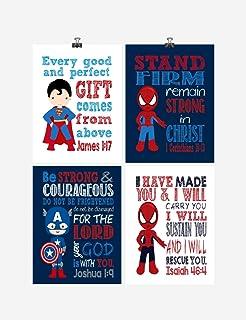 Superhero Inspirational Nursery Decor Art Set of 4 Prints - Captain America, Superman and Spiderman