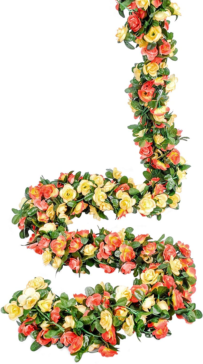 Miracliy 8 pcs 66 FT Flower Garland Fake Rose Vine Artificial Flower Hanging Rose Ivy Home Hotel Office Wedding Party Garden Craft Art Décor (Champagne)