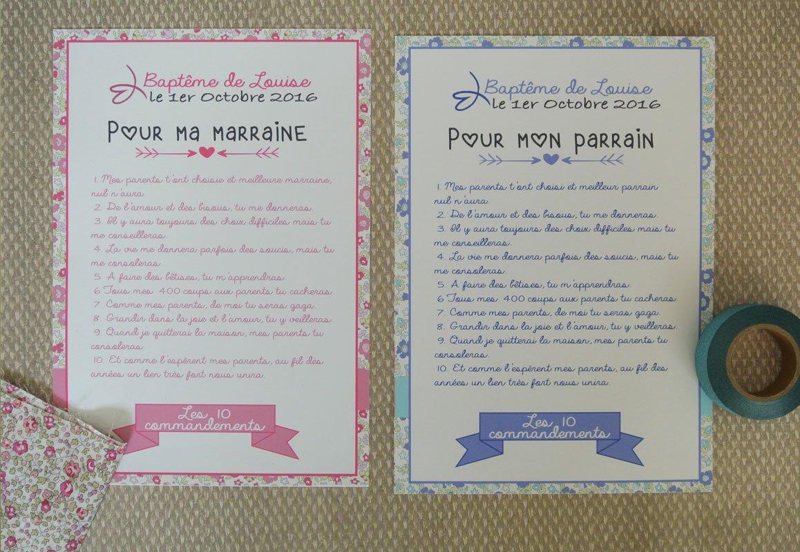 2 grands cartes les 10 commandements du parrain et de la marraine thème Liberty