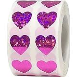 Adesivos rosa holográficos brilhantes de coração dia dos namorados artesanato scrapbook 1.000 adesivos
