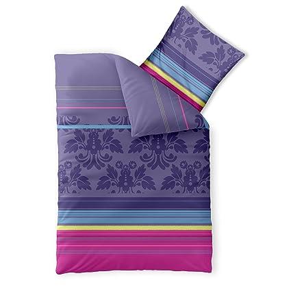 Aqua Textil Bettwäsche 155x220 Baumwolle Trend Bettbezug Daria Streifen Muster Lila Türkis Pink 0011801