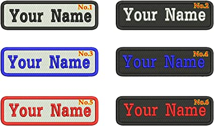 039a5debfe9a Amazon.com: 2 Pieces of Rectangular 1 Line Custom Embroidered Name ...