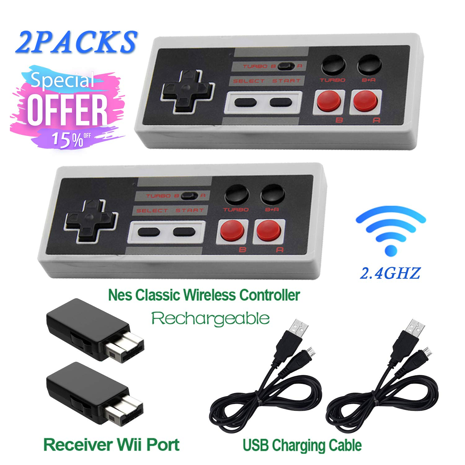 2 Pack Rechargeable NES Classic Mini Wireless Controller -TURBO EDITION-Rapid Buttons Edition for Nes Gaming System with 2.4G Wireless Receiver