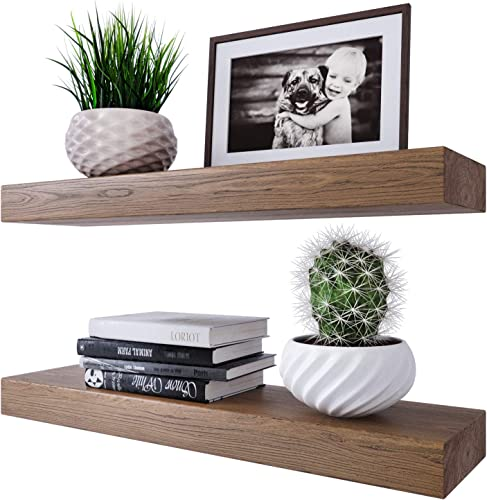 Homeforia Rustic Wood Floating Shelves Wall Mounted – 2 Thick Wooden Shelf for Bedrooms Kitchen Bathroom 24 x 6 x 2 inch – Set of 2 – Heavy Duty Bracket – Special Walnut Color