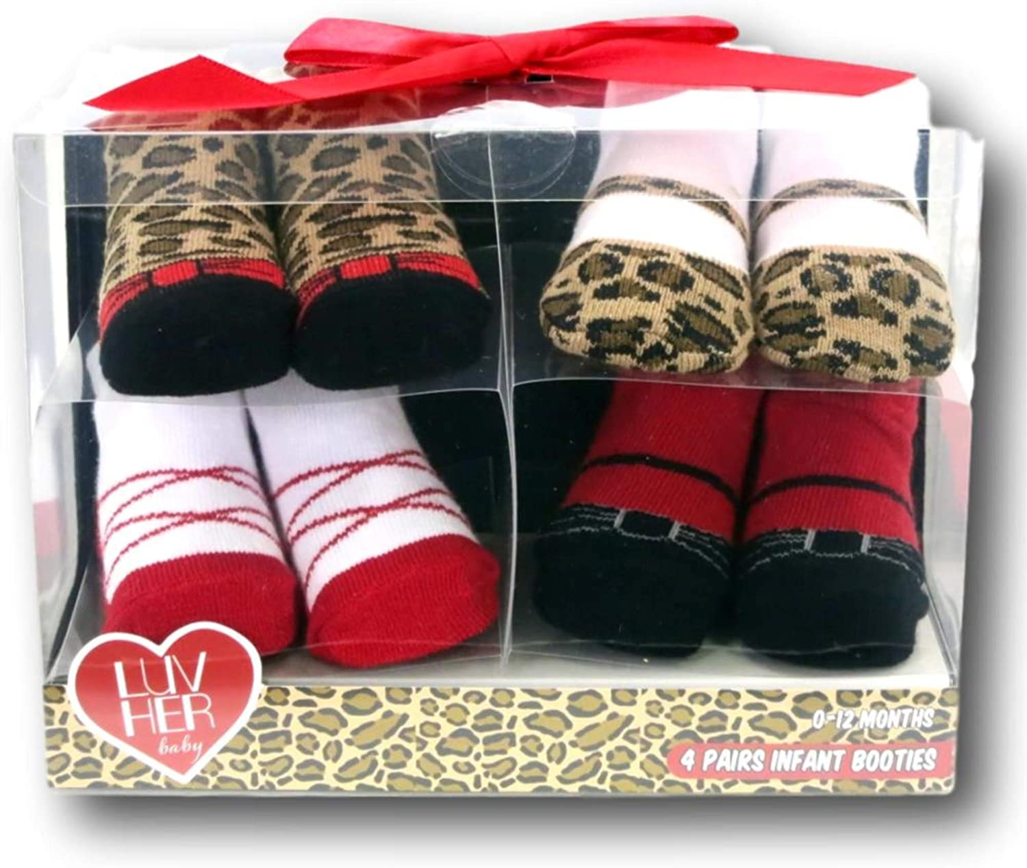 B07D2J8BCP 4 Pairs Infant Girls Leopard Animal Print Baby Booties - 0 to 12 Months 7167R-ApMkL