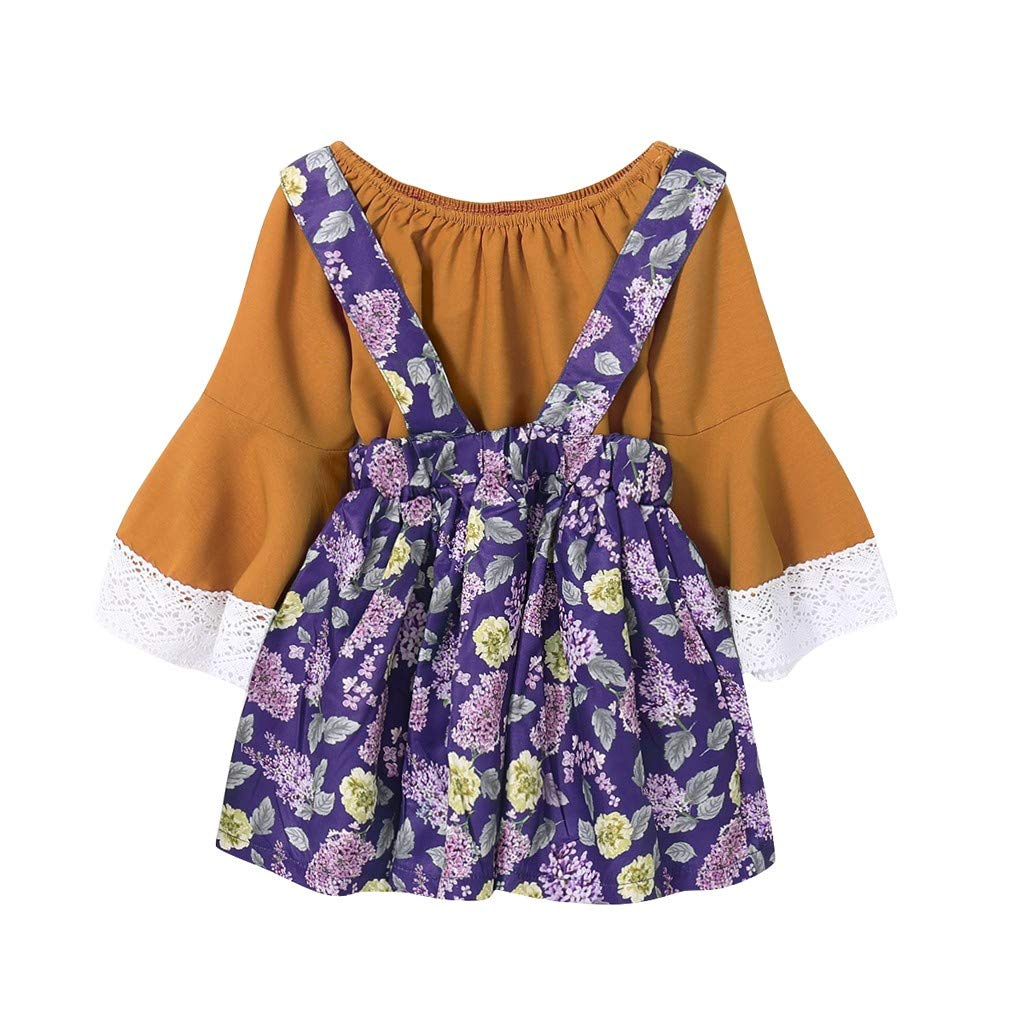 Onefa Toddler Baby Girls New Patchwork Ruched Lace Tops Floral Overall Skirt Outfits