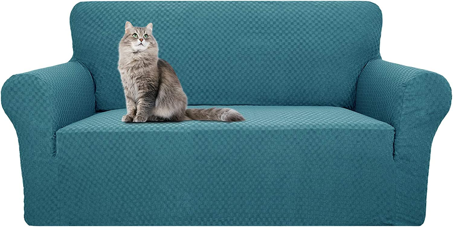 YEMYHOM Couch Cover Latest Jacquard Design High Stretch Sofa Covers for 2 Cushion Couch, Pet Dog Cat Proof Loveseat Slipcover Non Slip Magic Elastic Furniture Protector (Loveseat, Teal)