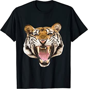 THREE TIGER ROAR GRAPHIC IMAGE BLACK WILD ANIMAL FANTASY MENS T SHIRT M-2XL