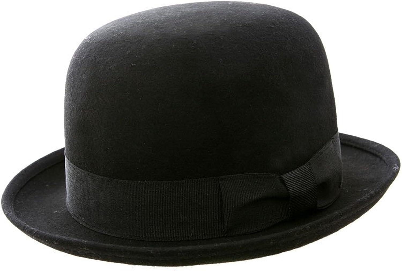 VIZ Bowler De Sombrero, 100% Fieltro, diseño clásico, Redondo, Negro