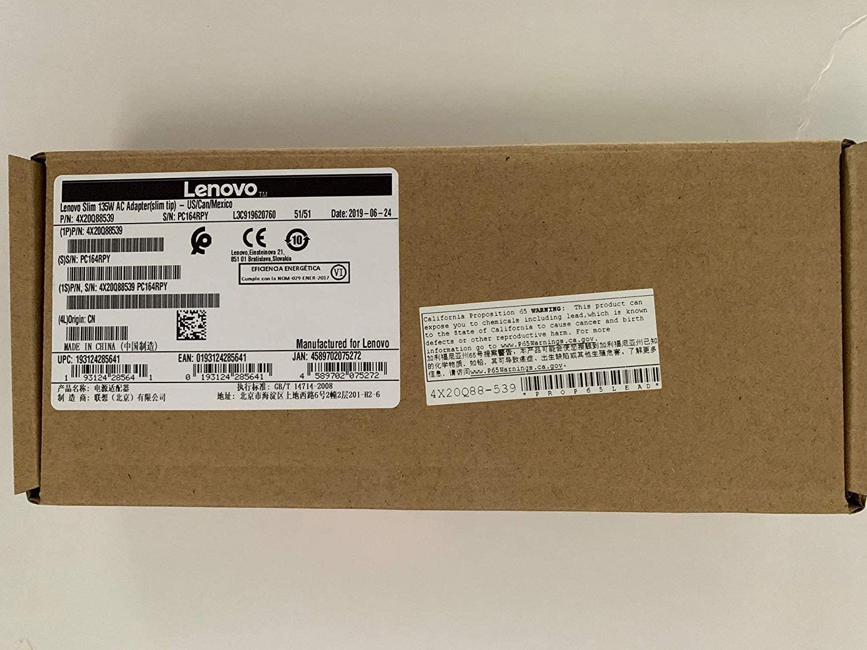 Original Lenovo 20V 6.7A 135W Slim Tip AC Adapter for Lenovo ThinkPad P1 20MD, Lenovo ThinkPad P1 20ME, Lenovo ThinkPad X1 Extreme 20MG - Retail Box - 4X20Q88539