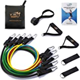 Fit Simplify 11 Piece Resistance Band Set with Door Anchor, Ankle Straps, Carry Bag and Exercise Tube Bands - Bonus Workout Guide, Ebook and Online Videos
